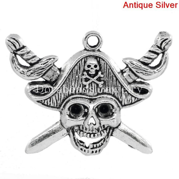 Lovely Charm Pendants Skull With Cross Sword Antique Silver (Can Hold ss12 Rhinestone) 4.5x3.4cm,10PCs (B24766)