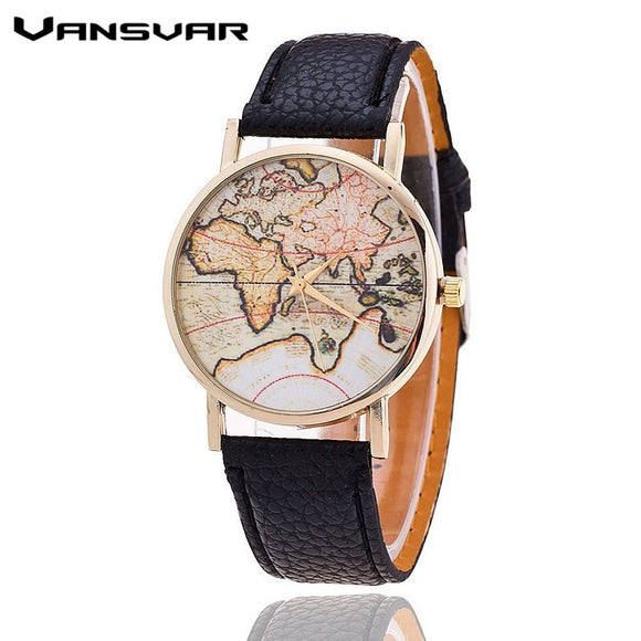 Vansvar Brand Fashion World Map Watch Women Casual Leather Strap Quartz Watches Montre Femme Relogio Feminino 1133
