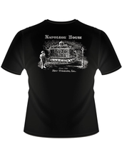 Load image into Gallery viewer, Back of shirt shows same black shirt with an illustration of the Napoleon House facade