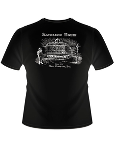 Back of shirt shows same black shirt with an illustration of the Napoleon House facade