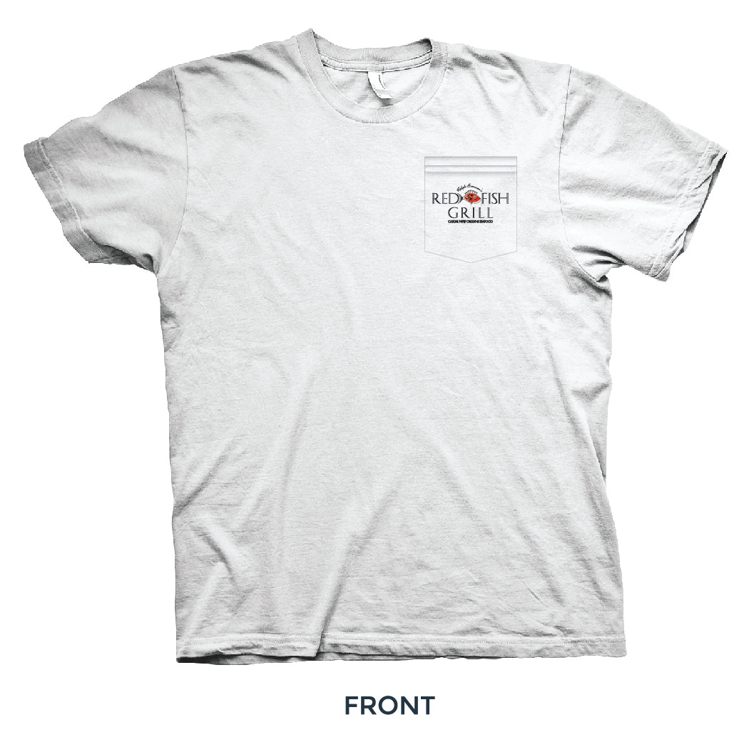 A white tshirt with front pocket with Red Fish Grill logo