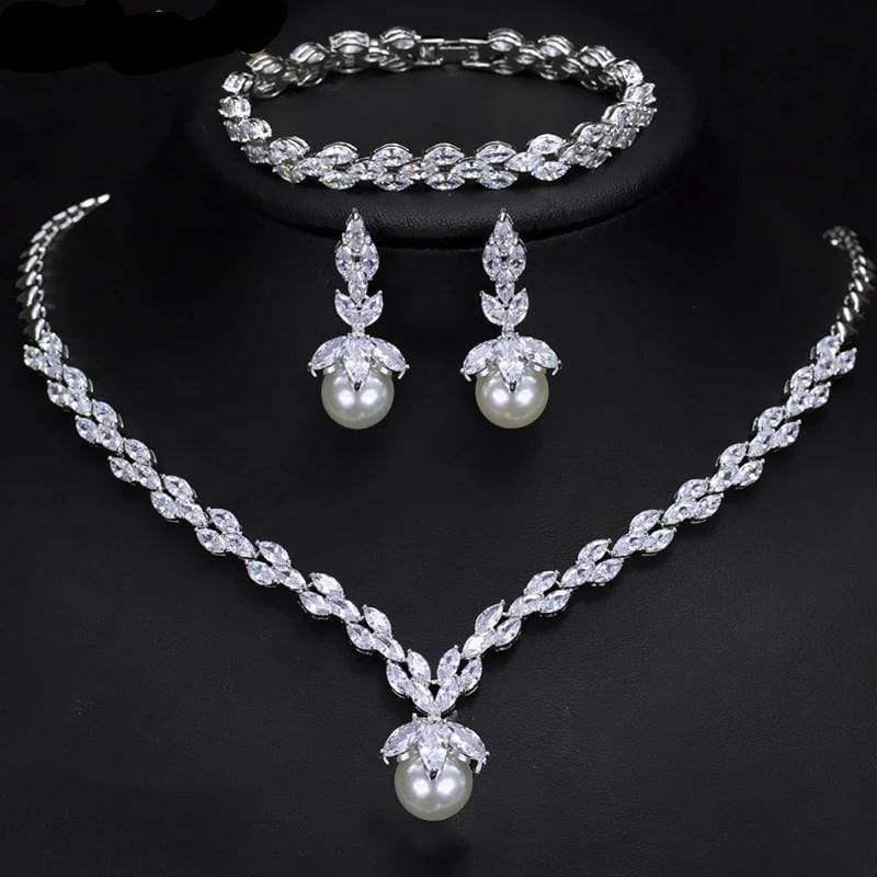 3 Pc CZ Pearl Jewelry Set - 3DVanity.com