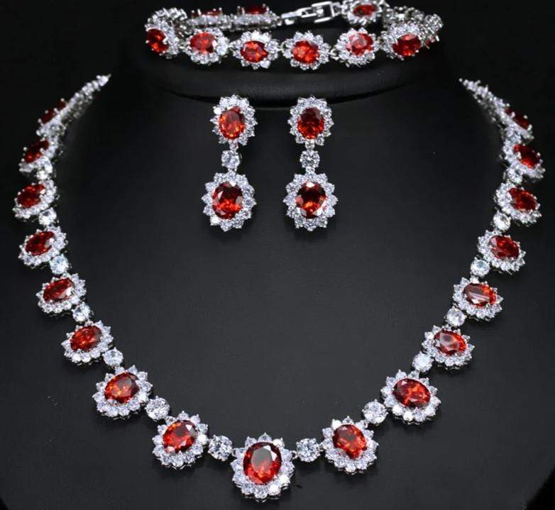 3 Pc Royal Jewels Bridal Set with Ruby/Emerald Stones - 3DVanity.com