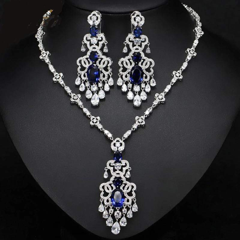 Alhambra Spanish Earrings and Necklace Wedding Jewelry Set - 3DVanity.com