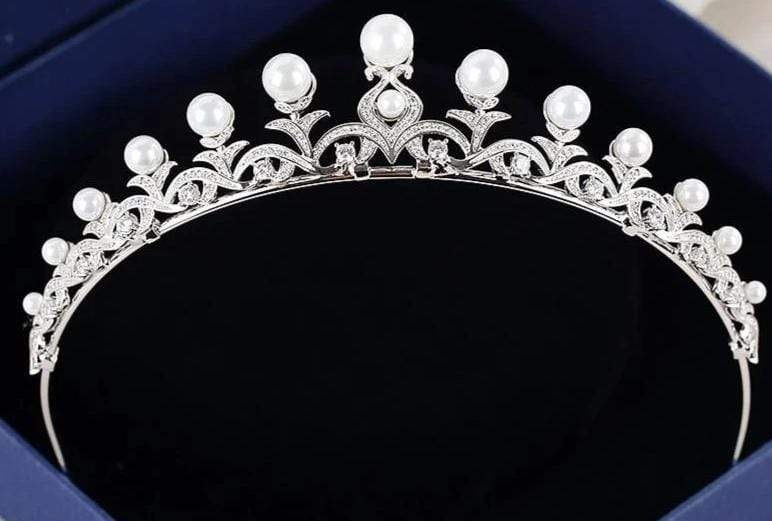 Beautiful Pearls and CZ Pave Embellished Tiara - 3DVanity.com