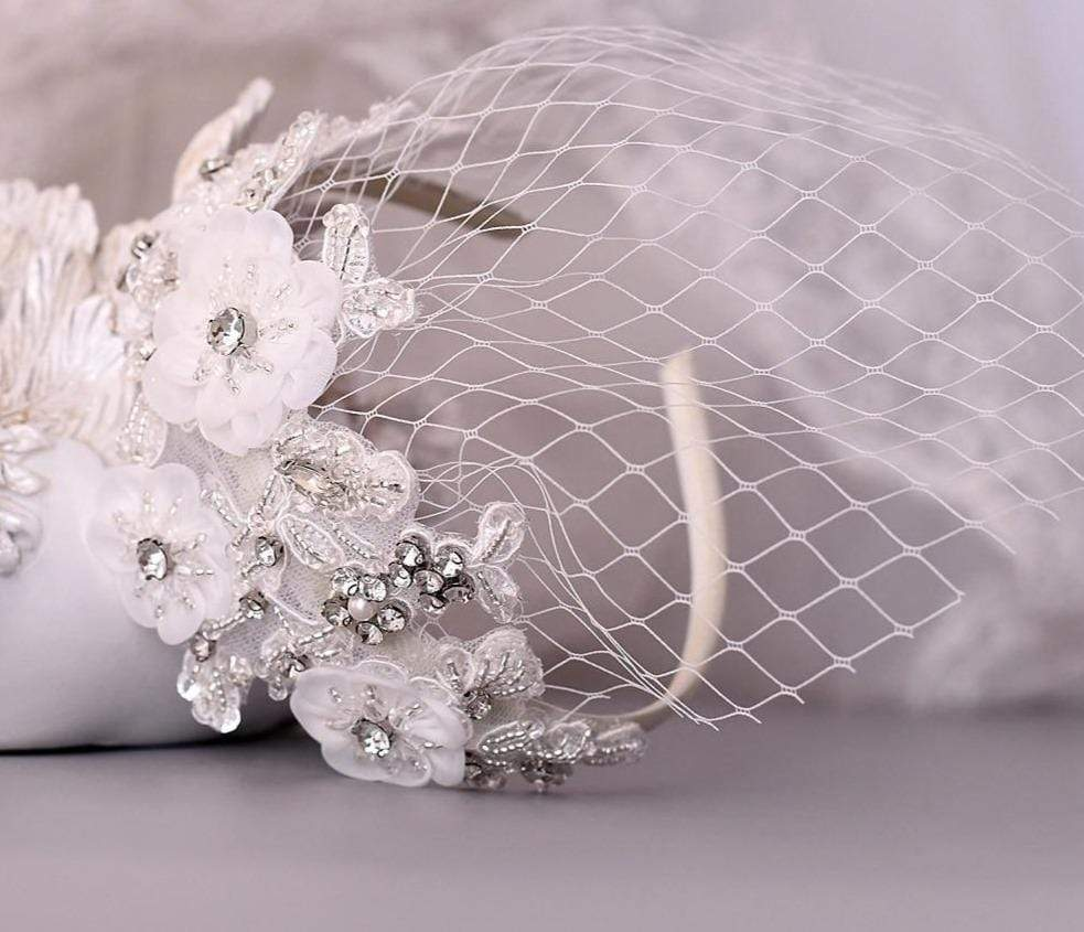 Birdcage Veil  White Flowers & Crystals Hair Accessory - 3DVanity.com