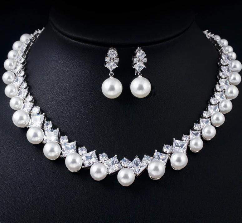 Bold Gorgeous CZ Pearl Choker and Pearl Drop Earrings Set - 3DVanity.com