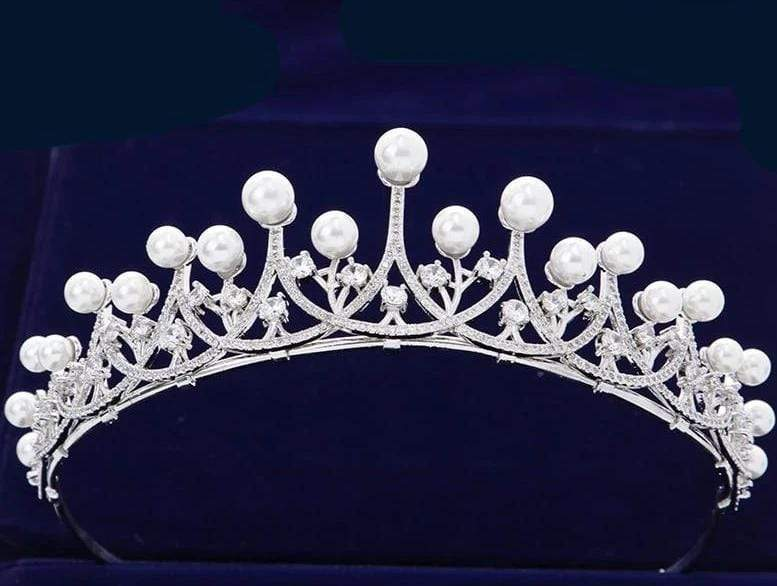 CZ Crystals and Natural Pearls Princess Tiara - 3DVanity.com