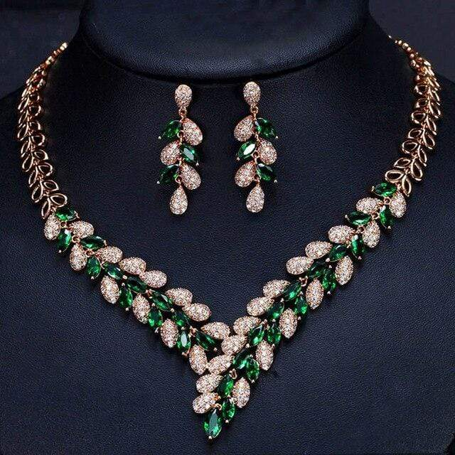 CZ Emerald Green Necklace and Drop Earrings Set - 3DVanity.com