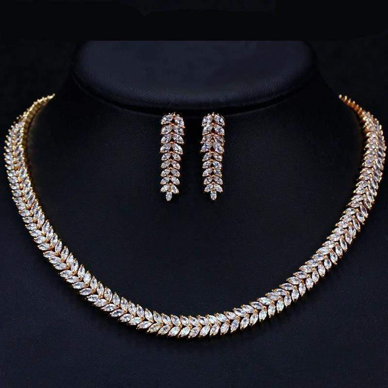 CZ Zirconia Luxury Set Gold Necklace and Earrings - 3DVanity.com