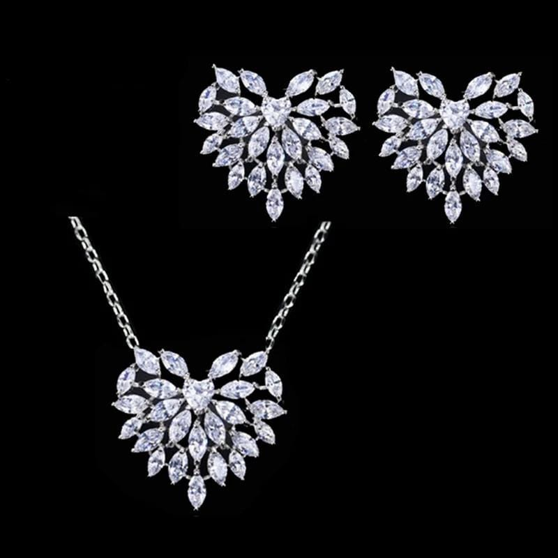 Heart Shaped Cubic Zirconia Earrings and Necklace Set - 3DVanity.com