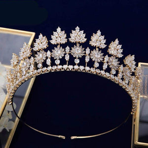 Impressive CZ Royal Queen Starburst Gold/Silver Crown-Tiara - 3DVanity.com