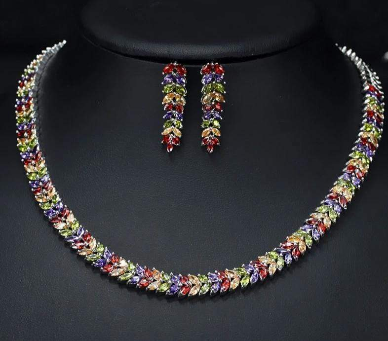 Luxurious Colorful CZ Marquise Cut Chakra Stones Jewelry Set - 3DVanity.com
