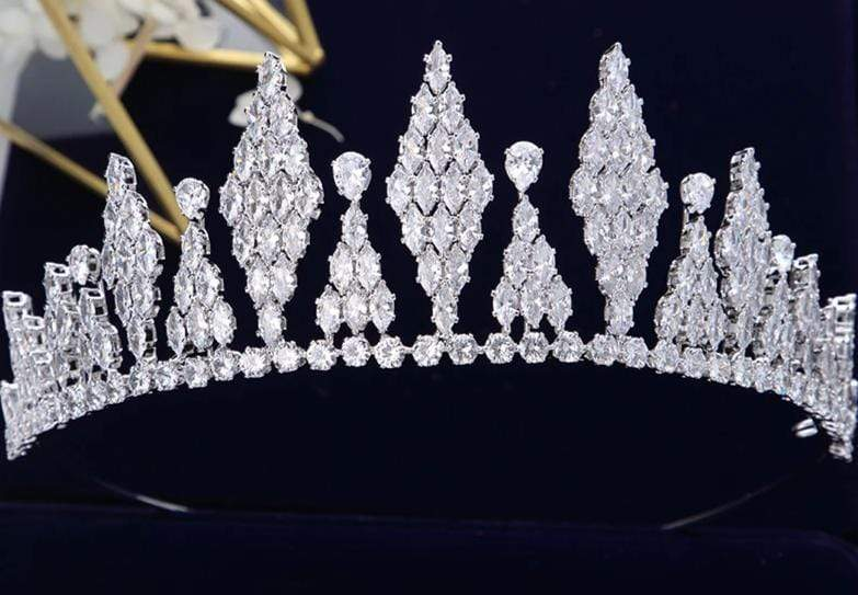 Modern Cubic Zirconia Wedding Headpiece - 3DVanity.com