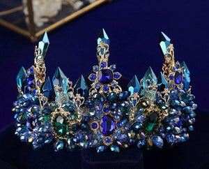 "Oversized 14"" Blue, Crystal and Emerald Green Rhinestones Royal Crown - 3DVanity.com"