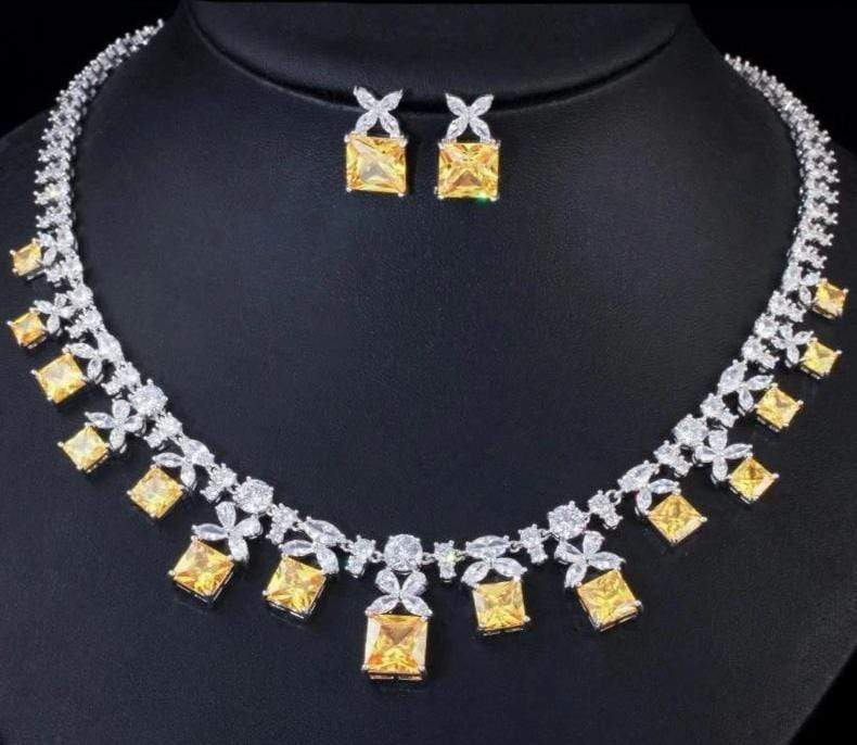 Princess Cut Yellow Citrine CZ Necklace Jewelry Set - 3DVanity.com