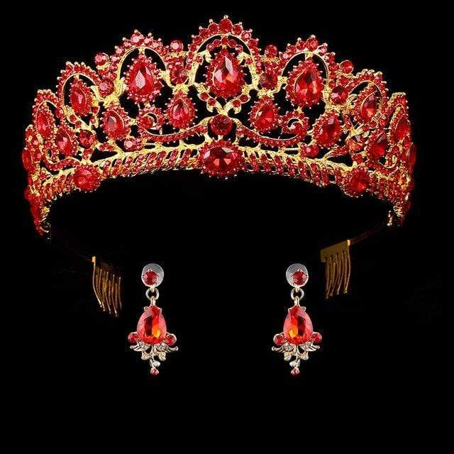 Queen Crown Ruby Crystals Tiaras & Earring Sets 50% OFF - 3DVanity.com