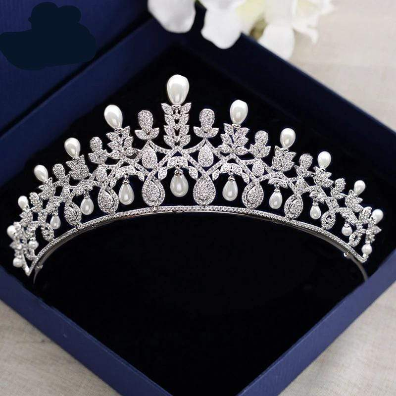 Royal Princess Silver Wedding Tiara Encrusted with CZ Crystals & Freshwater Pearls - 3DVanity.com