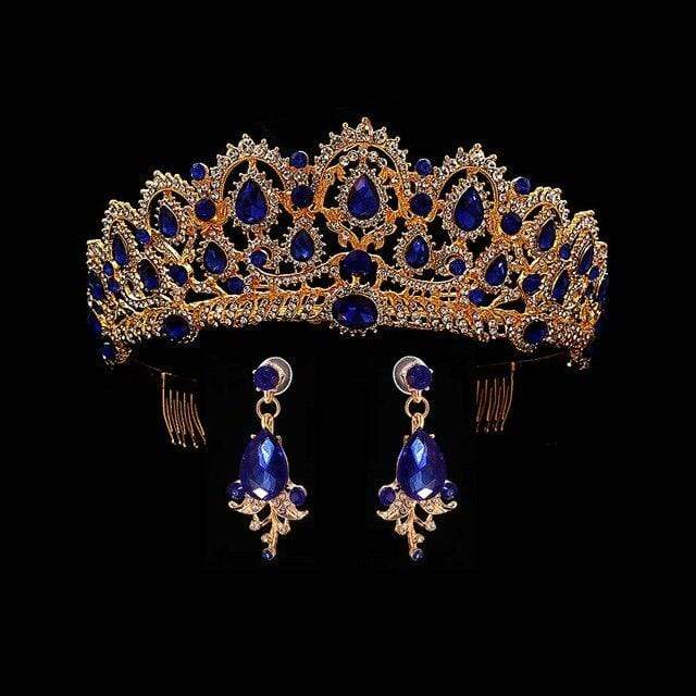 Sapphire Blue Tiara & Earrings Wedding Jewelry 50% OFF - 3DVanity.com