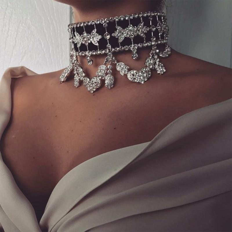 Lace Up Luxury Statement Rhinestone Choker - 3DVanity.com