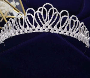 Simple, Modern & Stylish CZ Crystals Charged Tiara Hair Accessory - 3DVanity.com