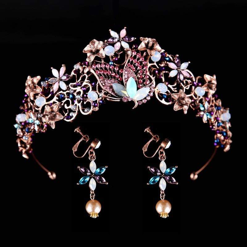 Floral Tiara and Matching Earring Set - 3DVanity.com