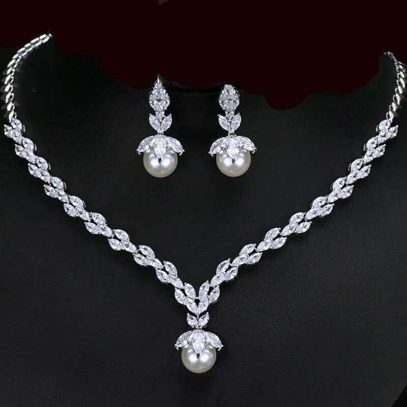 Single Pearl Necklace and Matching Drop Earrings Jewelry Set - 3DVanity.com