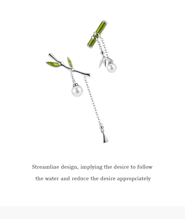 Sterling Silver Lucky Bamboo Earrings - 3DVanity.com