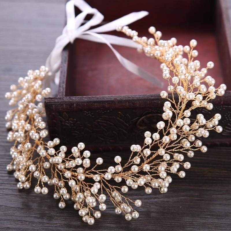Super Multi-Pearl Studded Bridal Headband - 3DVanity.com