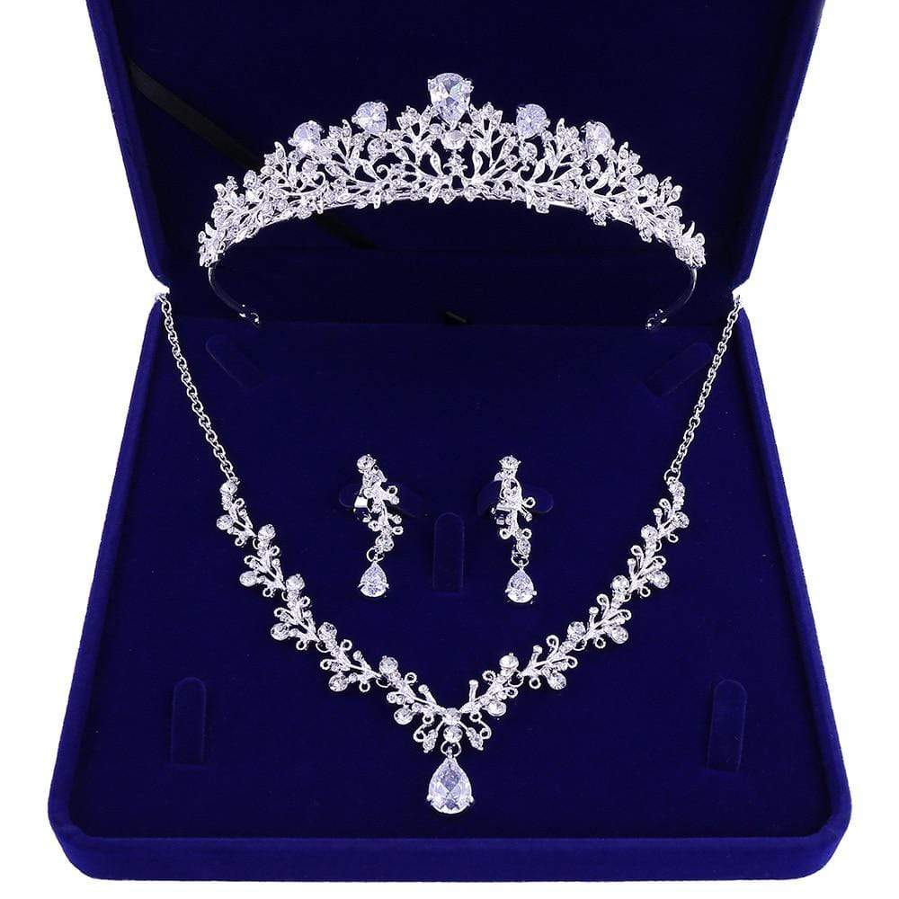 Young Girl's 3 Pc. Crystal Tiara-Necklace-Earring Jewelry Set - 3DVanity.com