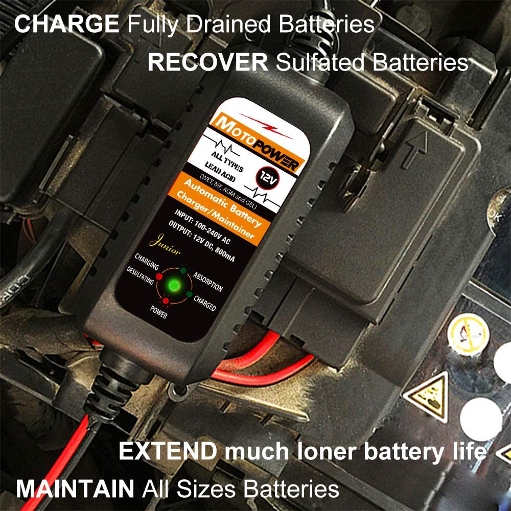 12V 800mA Smart Motorcycle Battery Charger/Maintainer