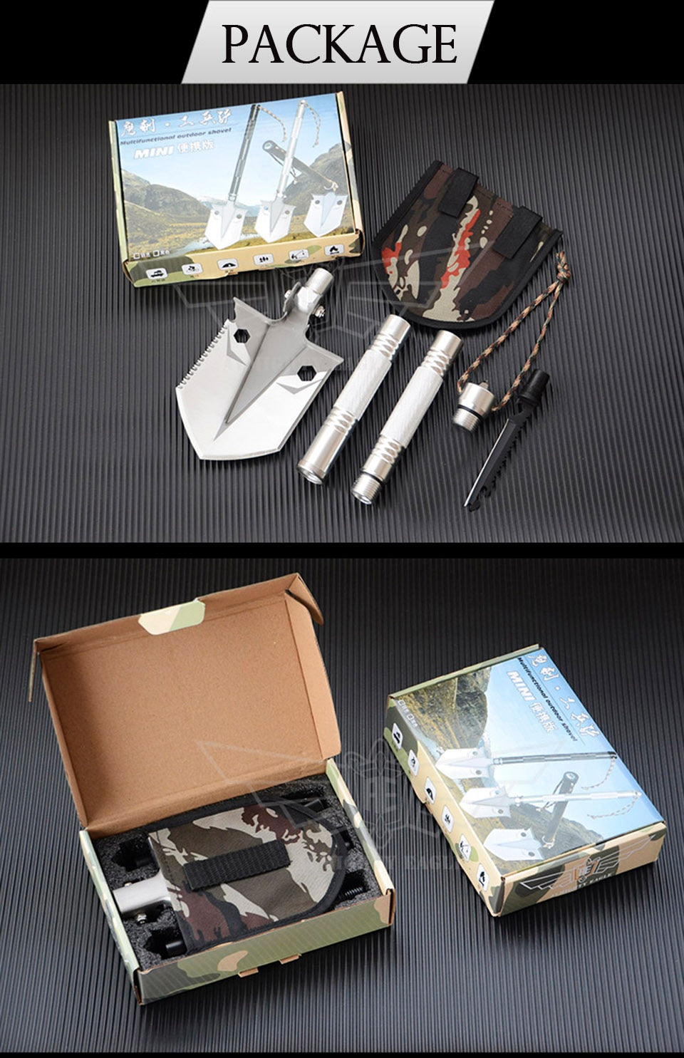 Multifunctional Folding Camping & Survival Shovel