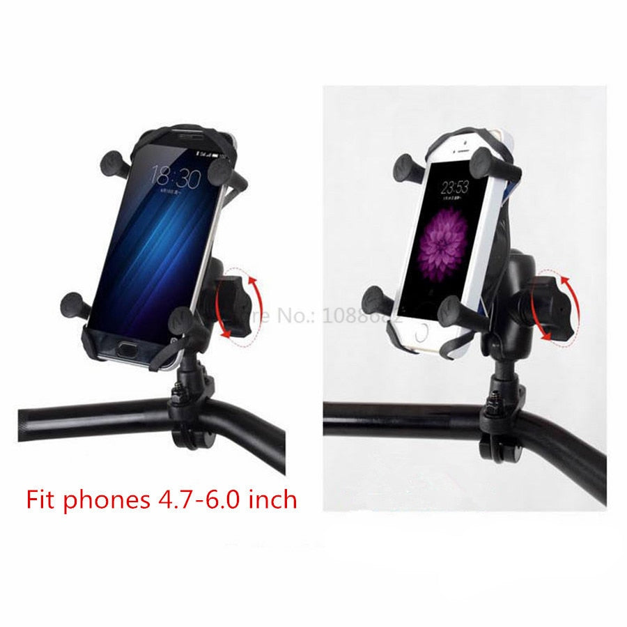 X-Grip Mount Motor Cycle Phone Holder -Mirror, Handlebar, Suction Cup Mounts