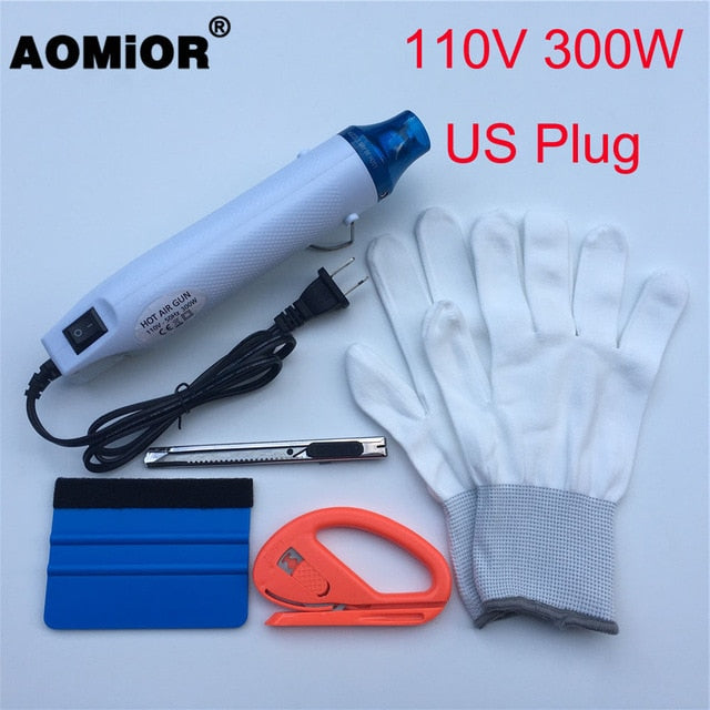 Vinyl Wrap Tool Kit: 110V/220V Electric Hot Air ,Squeegee, Vinyl Cutter, Gloves