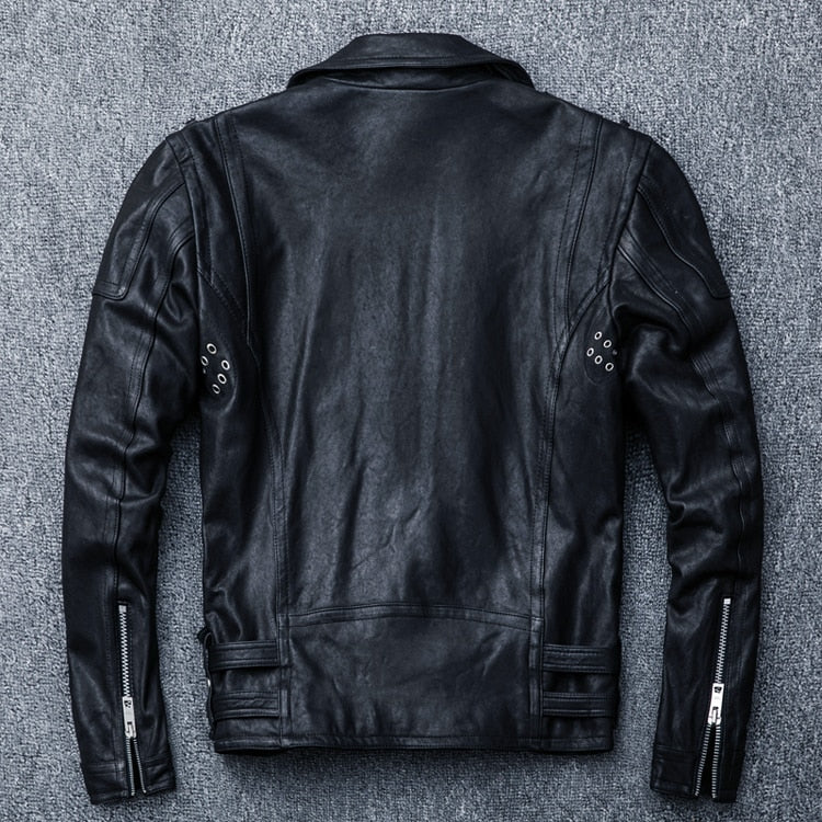 100% Natural Sheepskin Tanned Leather Men's Motocycle Jacket