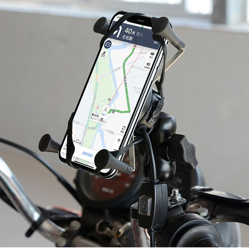 X-gripWireless Motorcycle Mobile Phone Holder USB QC 3.0 Charger Waterproof QC3.0
