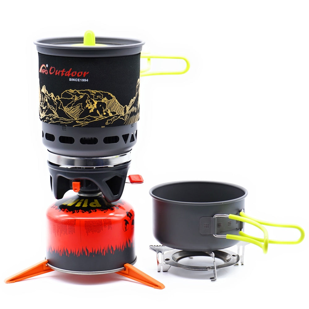 All In One High Efficiency Camp Stove and Cookware Kit-Great for Motorcycle Camping