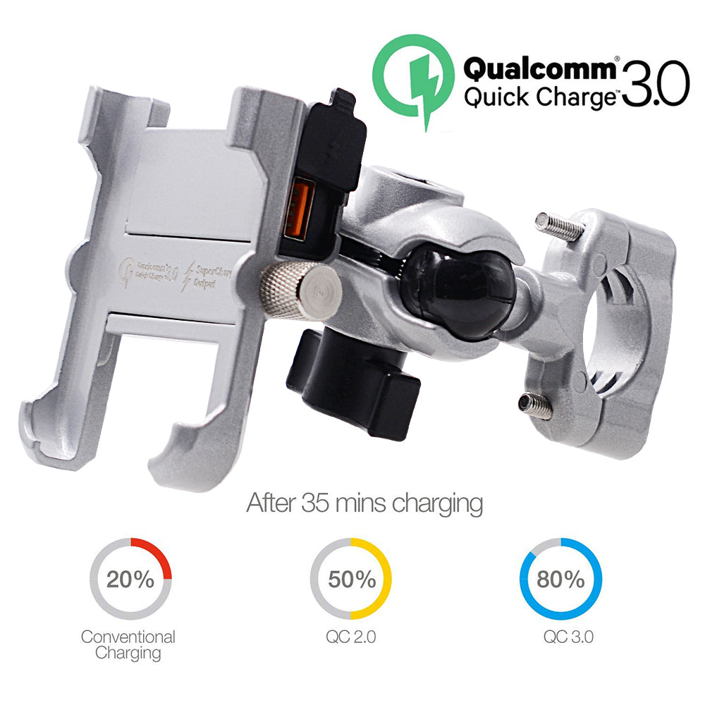 Aluminum Motorcycle Wireless Phone Charger & Holder - USB QC 3.0