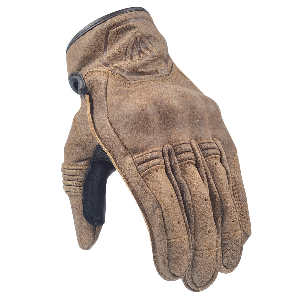 Retro Leather Motorcycle Touch Screen Riding Gloves