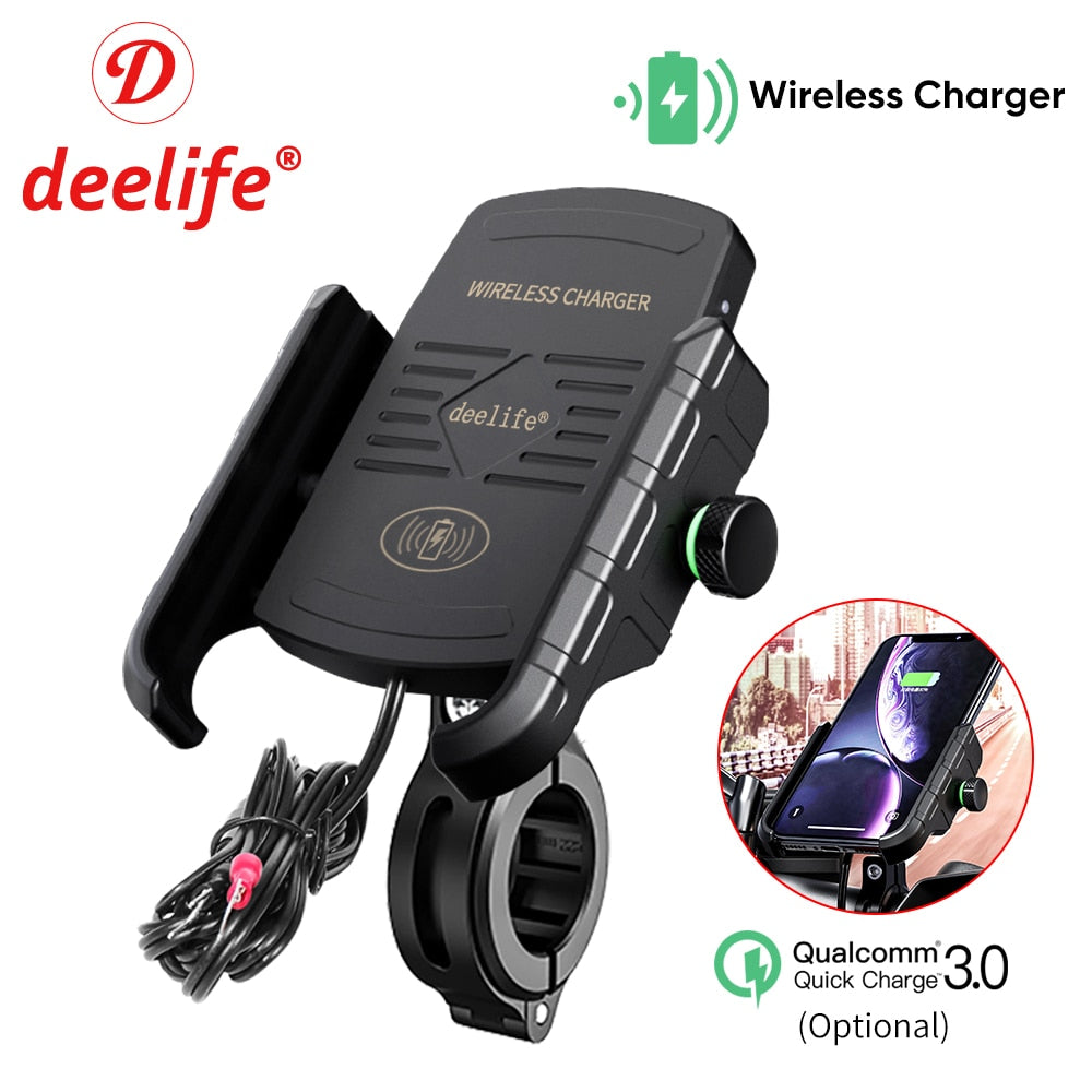 Motorcycle Mobile Phone Holder 3 options- unpowered, USB or Wireless Charger