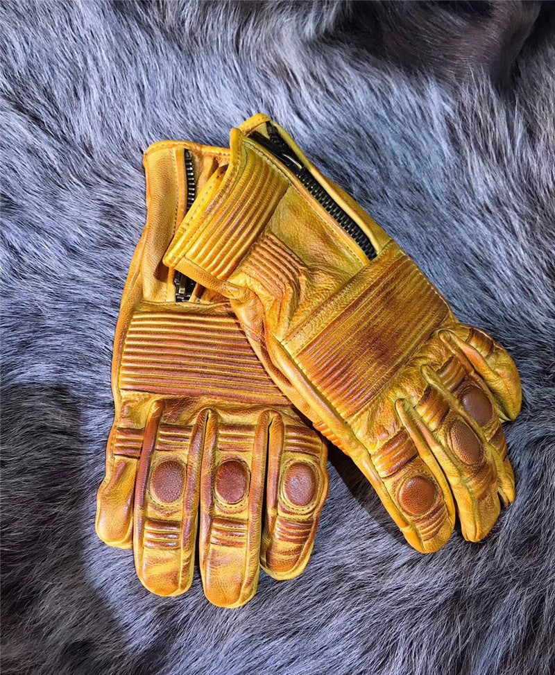 Full Leather Retro Motorcycle Gloves