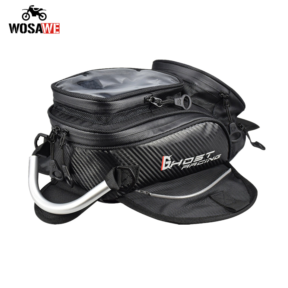 Motorcycle Magnetic Tank Bag with Touch Screen Device Pocket