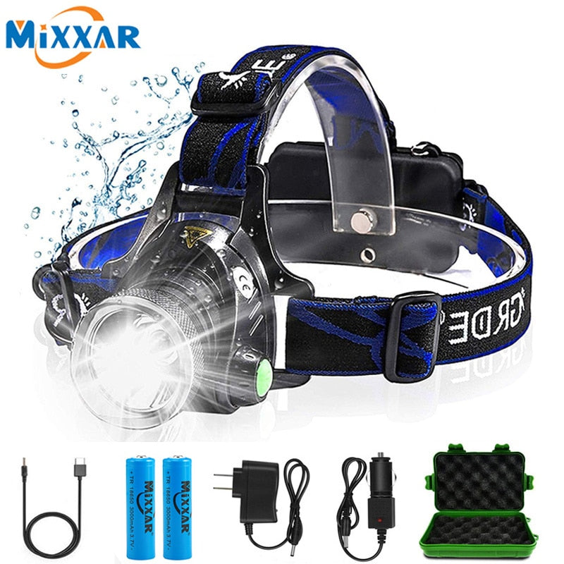 Rechargeable Waterproof LED Headlamp with Zoom & Three Light Switch Modes