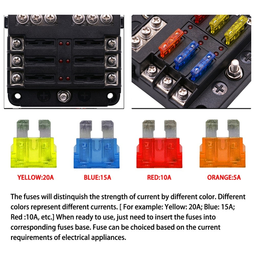 12V/24V Motorcycle Fuse Box & Power Distribution Block - LED Indicator Lights
