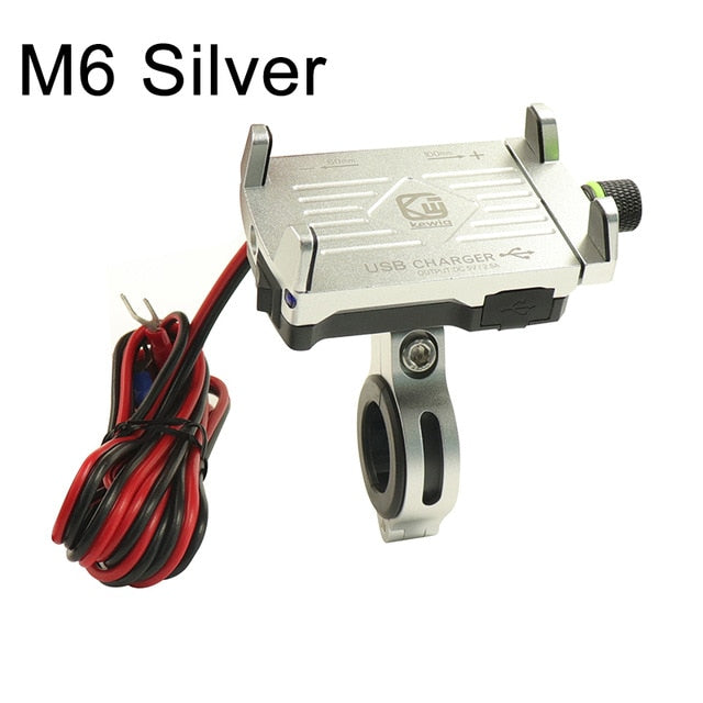 Motorcycle Handlebar Aluminum Alloy Phone Holder with Switched USB Power Charger