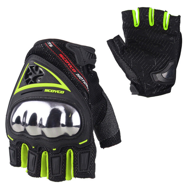 Fingerless, Padded-Knuckle, Motorcycle Riding Gloves