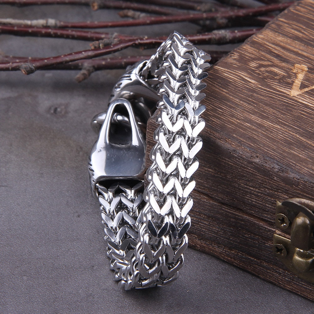 Men's Double Wolf's Head  Bracelet in Stainless Steel & Mesh