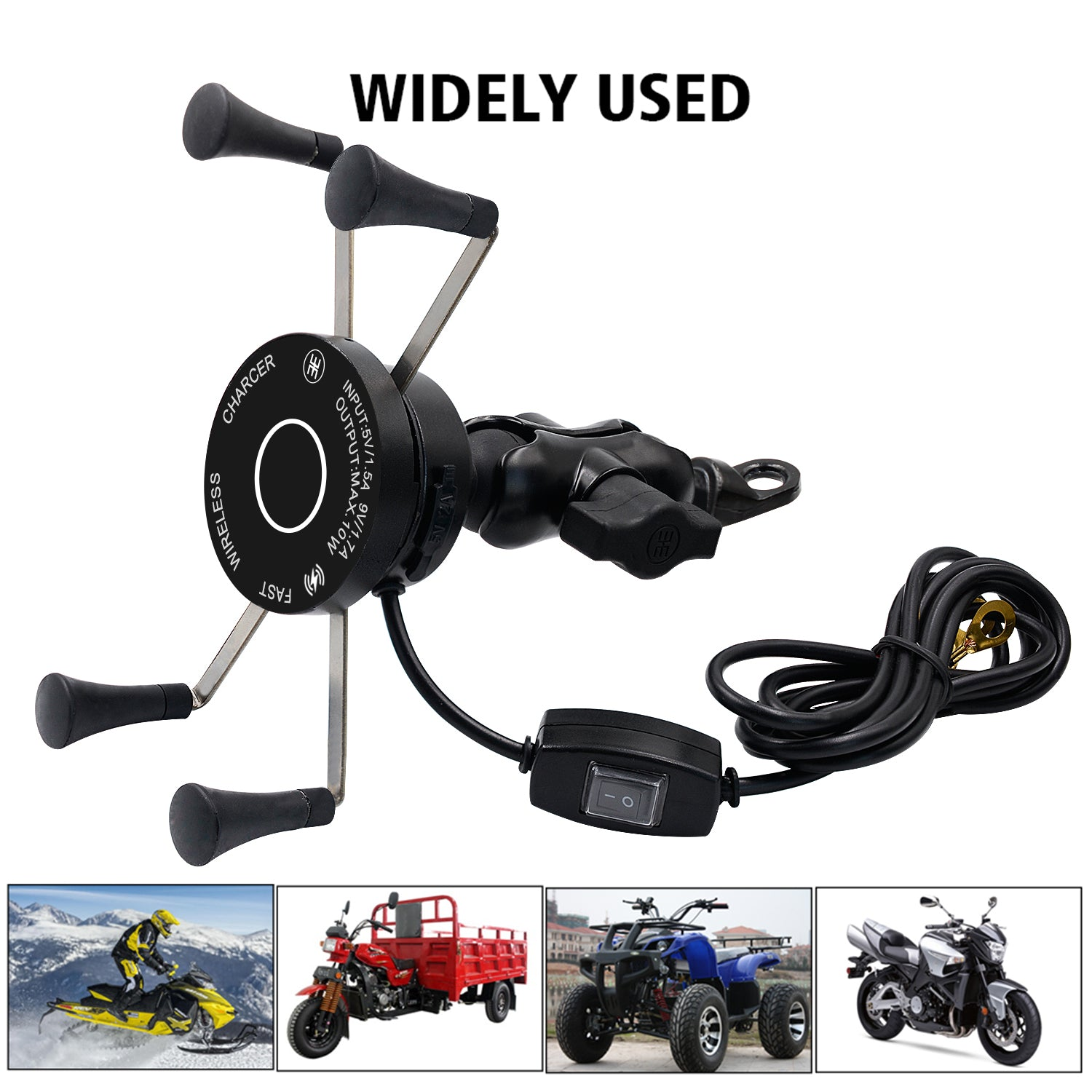 X Bracket Handlebar Mount Motorcycle Wireless QC3.0 USB Phone Charger