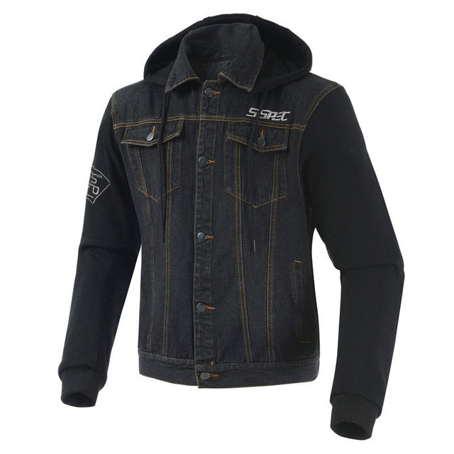 Denim Hoodie Riding Jacket with Armor