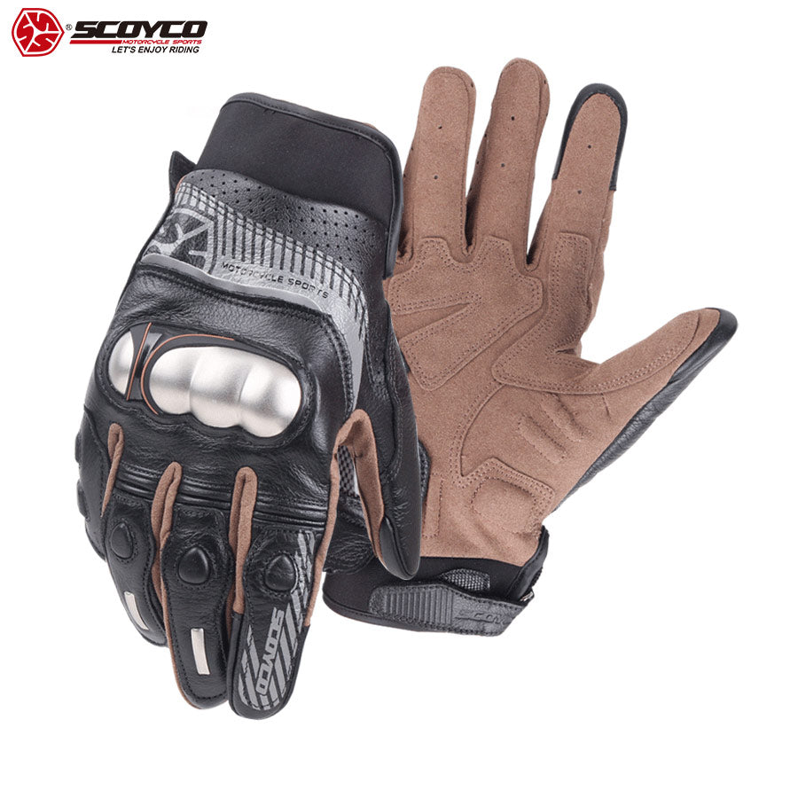 Genuine Leather Stainless Steel Shell Riding Glove